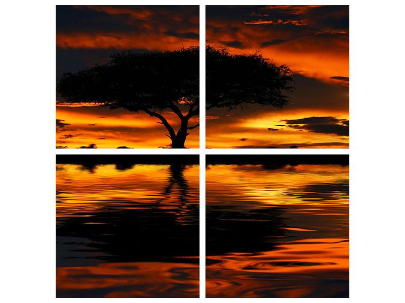 4 Piece Metallic Print Sunset In Kenya