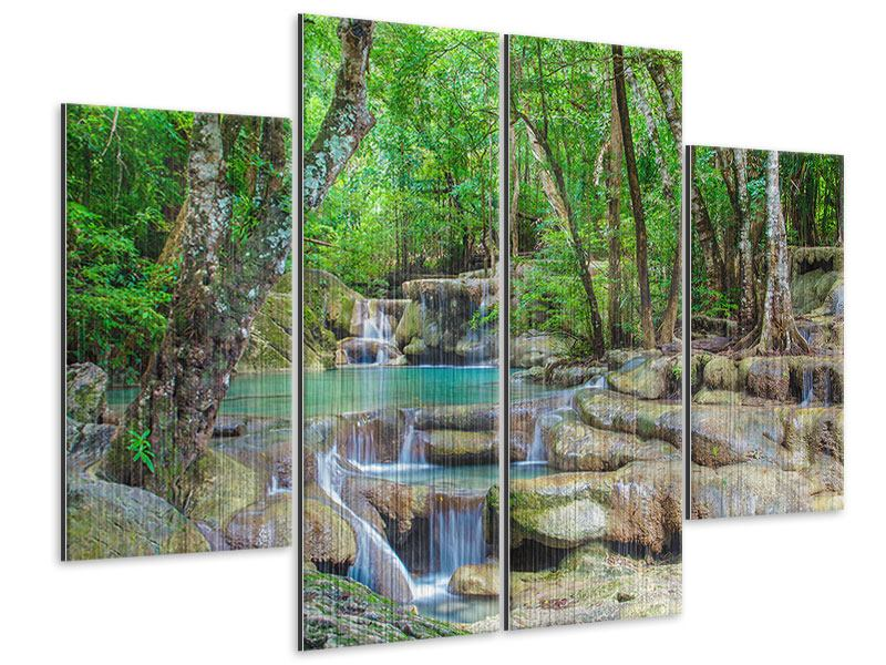 4 Piece Metallic Print Water Spectacle