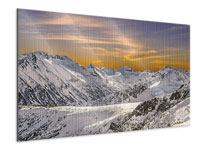 Metallic Print Sunset In The Mountains