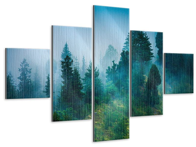 5 Piece Metallic Print Mysterious Forest