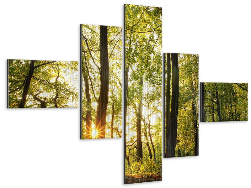 Modern 5 Piece Metallic Print Sunset Between Trees