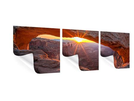 Panorama Poster 3-teilig Sonnenuntergang am Mesa Arch
