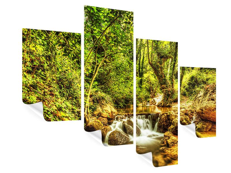Modern 4 Piece Poster Waterfall In The Forest