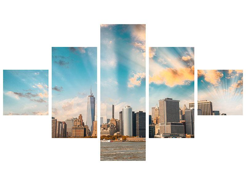 5 Piece Poster New York, Skyline From The Other Side