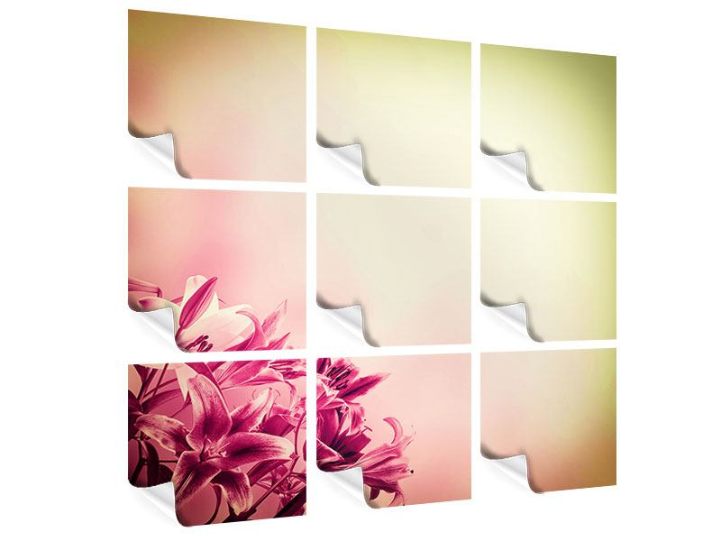 9 Piece Poster Colored Lilies
