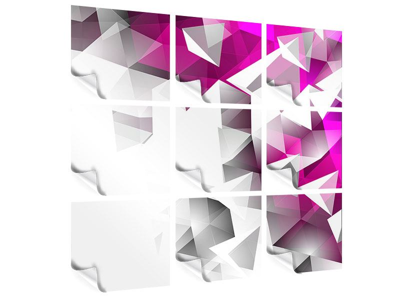 9 Piece Poster 3D Crystals Pink