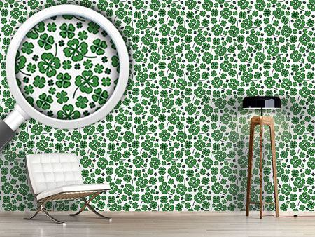 Design Wallpaper Lucky Clover White