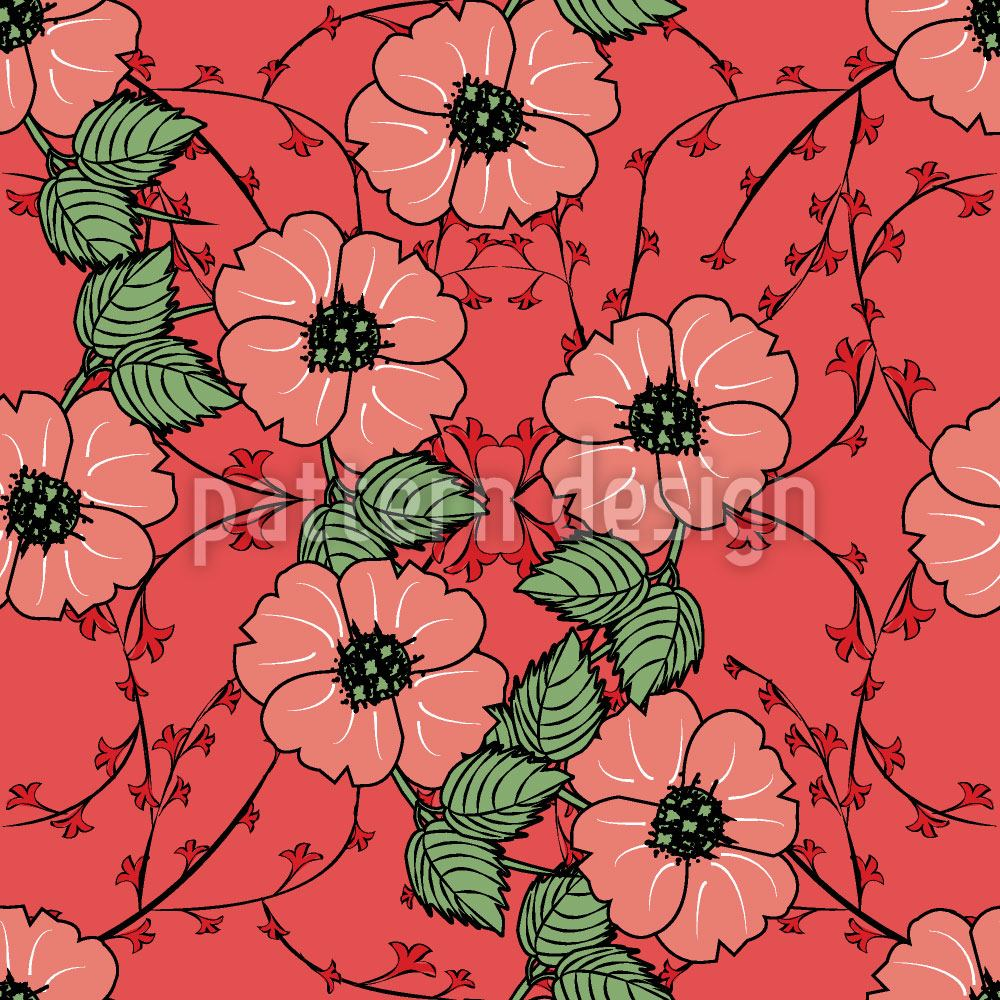 Papier peint design Red flowers with leaves