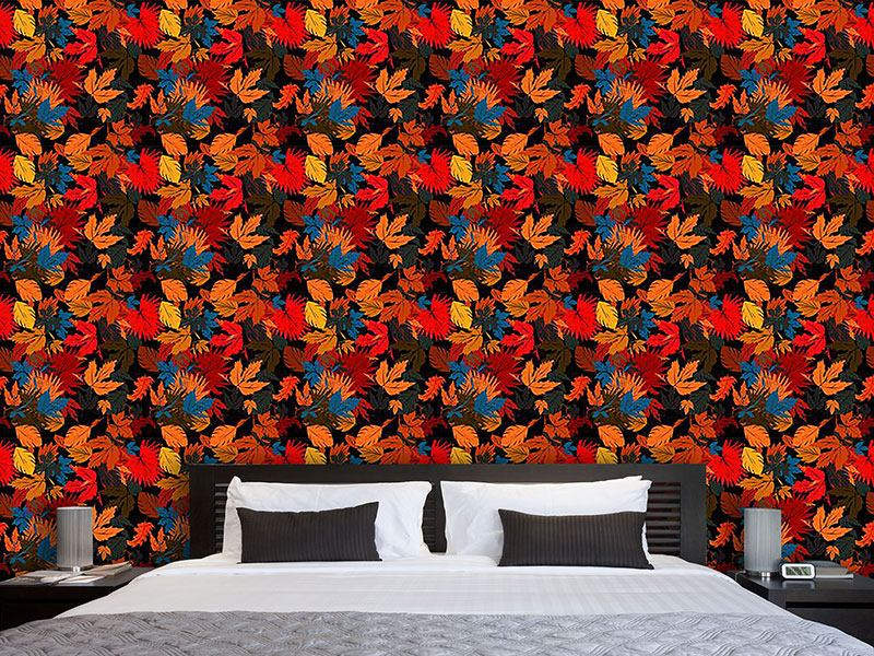 Design Wallpaper Leaves In The Bed