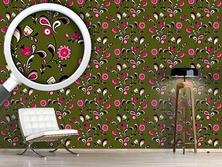 Design Wallpaper Folk Flowers
