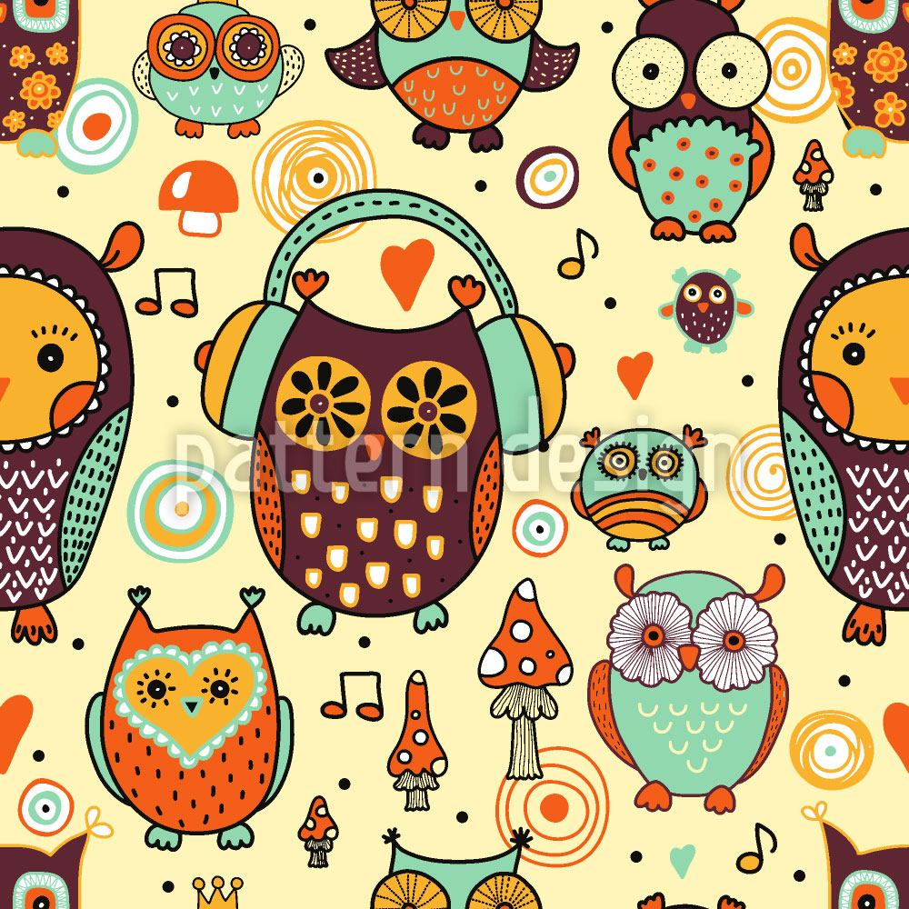 Papier peint design Owl Love Music Very Much