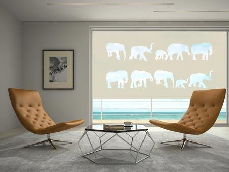 Window Foil herd of elephants
