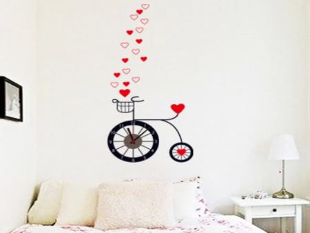 Wall Sticker Bicycle Clock